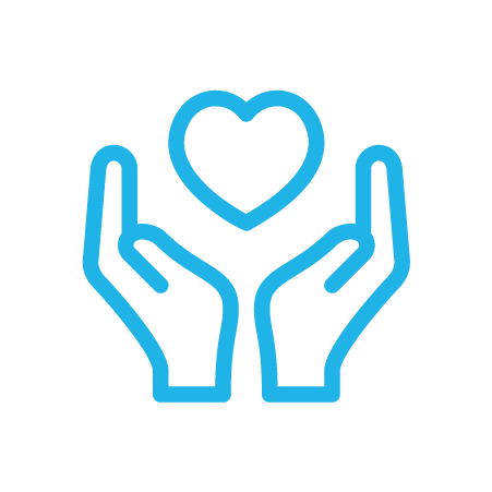 Heart in hands graphic icon